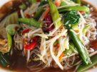 ข้อมูลโภชนาการ ใน ข้าวปุ้น (ส้มตำ-ขนมจีน) 1 จาน ให้พลังงานทั้งสิ้น เท่ากับ